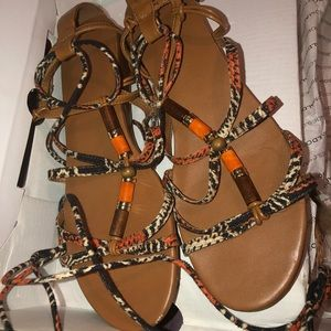 Aldo brown and Orange lace up sandals